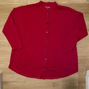 Soft Surroundings Red 3X button up blouse buttons